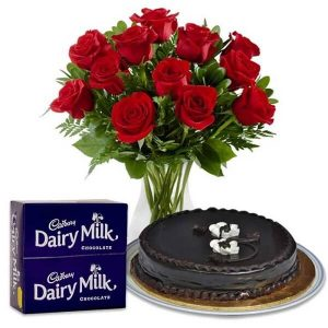 Flower Bouquet, Cake with Chocolates