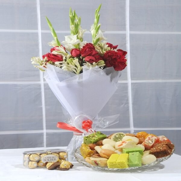 Flowers Bouquet with Mithai and Chocolates