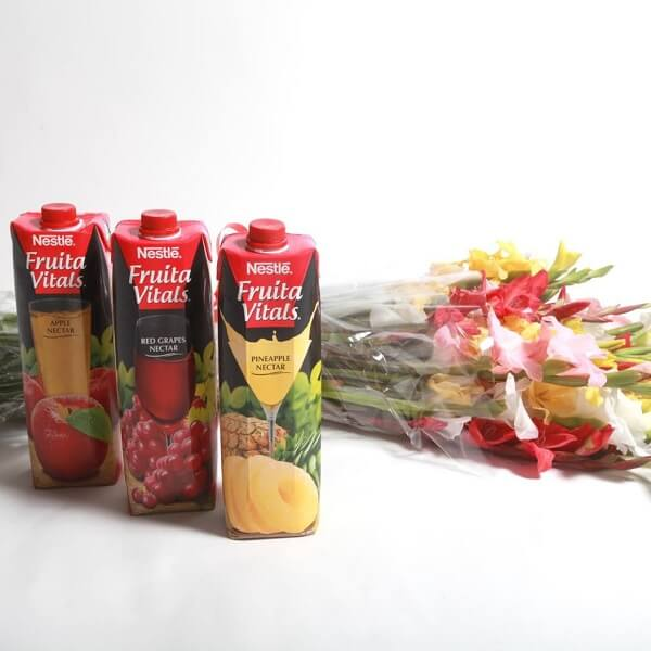 Flower Bouquet with Juices gifts
