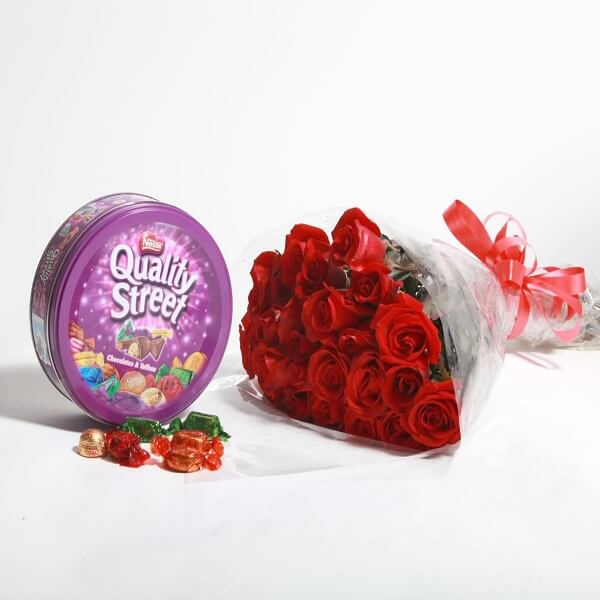 Roses bouquet and Quality Street - Foriorder